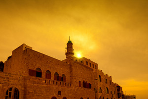 Golden sunset over old city Jaffa in Tel Aviv