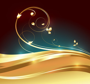 Golden Swirl Flourish Background