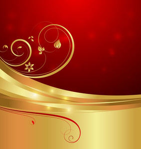 Golden Swirl Flourish Bokeh Graphic Background