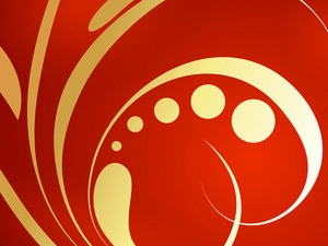 Golden Swirl On Red Background