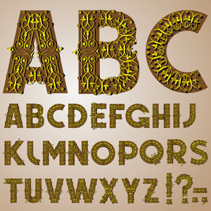 Golden Swirly Alphabet