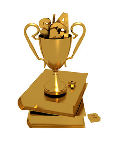 Golden Trophy On Books