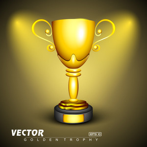 Golden Trophy On Shiny Abstract Background.
