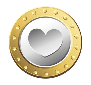 Golden Valentine Heart Coin