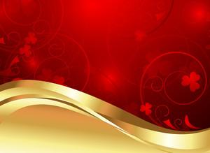 Golden Wavy Floral Background