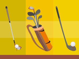 Golf Bag With Several Clubs Locate Still On The Ground