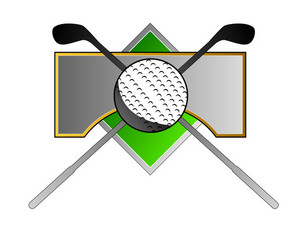 Golf Ball Clubs On Metal Crest