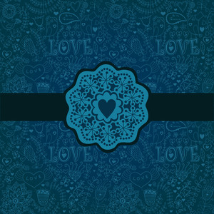 Gorgeous Seamless Floral Background. Floral Background In Blue With Vintage Label Design.