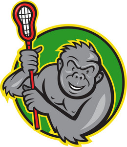 Gorilla Ape With Lacrosse Stick Cartoon