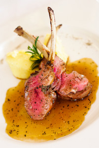 Gourmet Main Entree Course Grilled Lamb steak with spicy Pepper sauce.