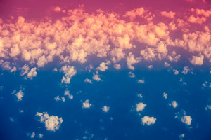 Gradient colored cloudy sky