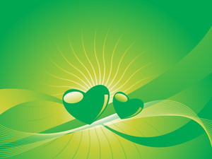 Gradient Green Heart On Sunny Background