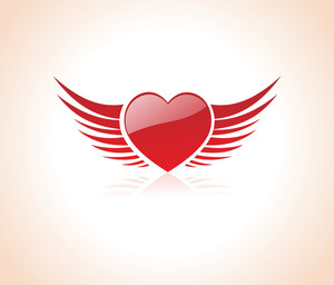 Gradient Red Heart Angel With Wings