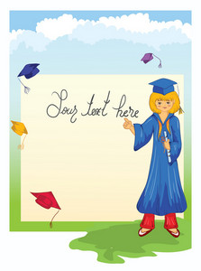 Graduate Girl Vector Illustration