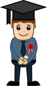 Graduate Man - Cartoon Office Vector Illustration