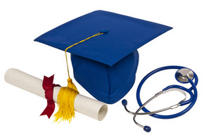 Graduation Cap With Stethoscope and Diploma