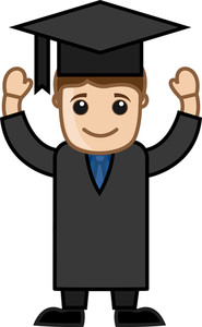 Graduation Day - Cartoon Office Vector Illustration
