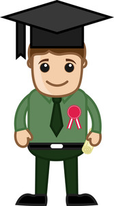 Graduation Degree Holder - Cartoon Office Vector Illustration