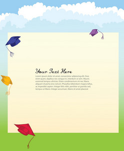 Graduation Hats Vector Background