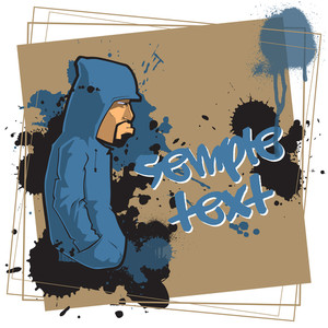Graffity Character On A Dirty Background. Vector Illustration