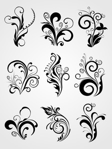 Graphic Design Element Floral Tattoos