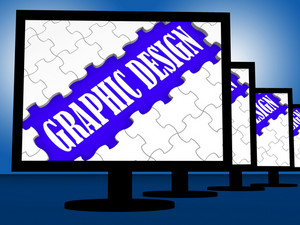 Graphic Design On Monitors Shows Digital Drawing