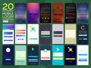 20 different Mobile Sign In, Login and Sign Up Screens for Smartphone and Tablet. Creative Material Design, UI, UX and GUI layouts with flat web icons for Mobile Apps, Responsive Website and Designing concept.