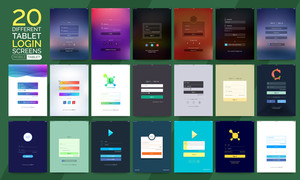 20 different Tablet Sign In, Login and Sign Up Screens for Smartphone and Tablet. Creative Material Design, UI, UX and GUI layouts with flat web icons for Mobile Apps, Responsive Website and Designing concept.