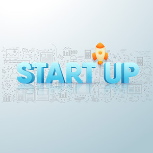 3D text Start Up with flying rocket on creative background for Business concept.