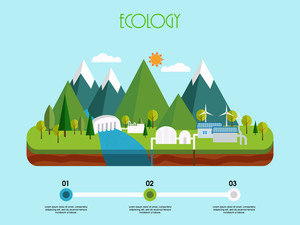 3D view of a energy industry on sky blue background, Creative infographic elements based on ecological concept.