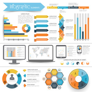 A big collection of Infographic elements with digital devices showing graphs, bars and world map.