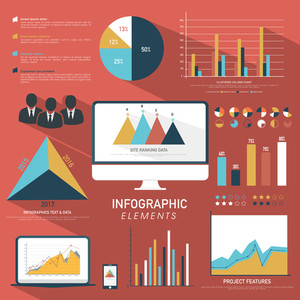 A big set of Business Infographic elements with different graphs for presenting for financial growth.