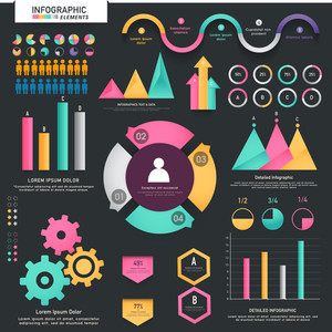 A big set of colorful infographic elements including statistical arrows, bars, graphs and charts for your business.