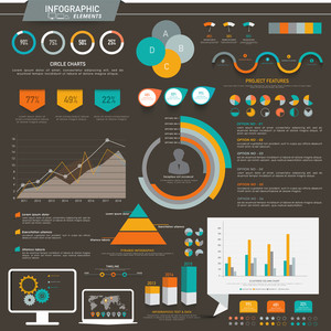 A big set of creative colorful Infographic elements with various graphs and bars for business presentation.