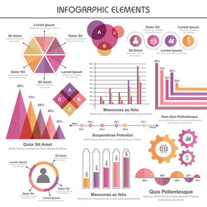 A big set of creative infographic elements with statistical graphs and charts for your business reports and presentation.