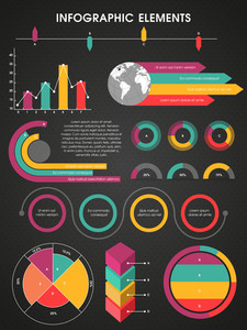 A big set of creative infographic elements with statistical graphs and charts on colorful background for your business reports and presentation .