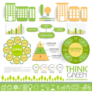 A big set of Infographic elements including statistical graphs, bars and charts based on Ecology concept.