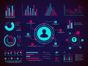 A big set of shiny infographic elements including various statistical graphs and charts for effevtive business reports and financial data presentation.