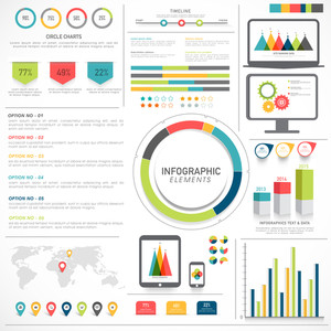 A big set of statistical Infographic elements for your business presentation and reports.