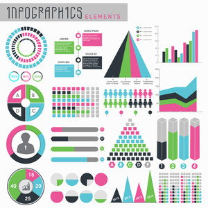 A big set of various colorful infographic elements for business reports and professional presentation.