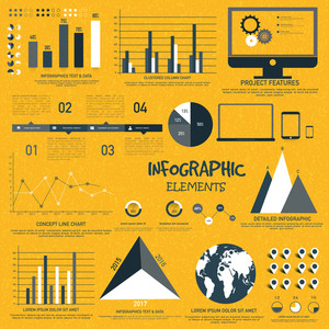 A big set of various statistical business infographic elements with modern digital devices presentation.