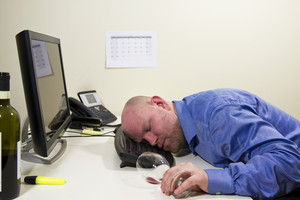 A drunk businessman / office worker sleeping at his computer keyboard.