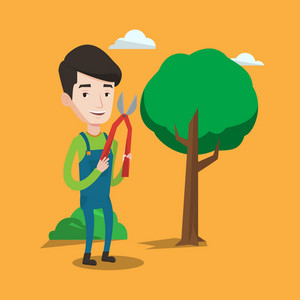 A gardener holding a pruner. A man is going to trim branches of a tree. Professional gardener pruning a tree. Gardener working in the yard with clipper. Vector flat design illustration. Square layout.