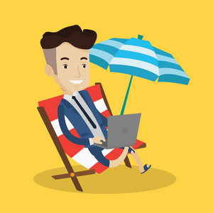 A happy businessman wearing suit working on the beach. Businessman sitting in chaise lounge under beach umbrella and working on a laptop. Vector flat design illustration. Square layout.