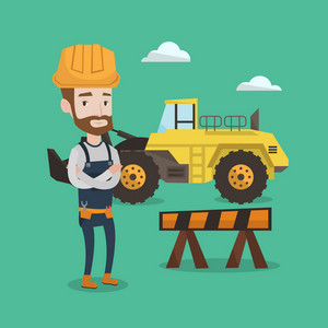 A hipster builder with the beard standing with arms crossed. Confident builder in hard hat standing on a background of construction site or road works. Vector flat design illustration. Square layout.
