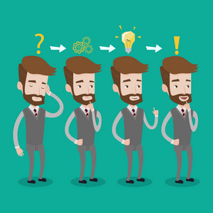 A hipster businessman with the beard during business planning. Young businessman with a question mark, gears, idea light bulb and exclamation sign. Vector flat design illustration. Square layout.
