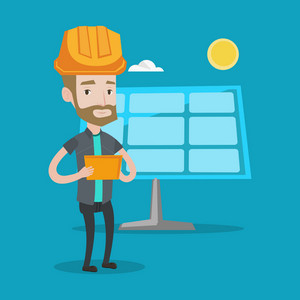 A hipster engineer with the beard working on digital tablet at solar power plant. Young worker in hard hat checking solar panel setup. Vector flat design illustration. Square layout