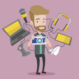 A hipster man taking photo with digital camera. Young man surrounded with gadgets. Man using many electronic gadgets. Man addicted to modern gadgets. Vector flat design illustration. Square layout.