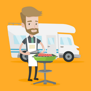 A hipster man with the beard cooking meat on barbecue on the background of camper van. Young man travelling by camper van and having barbecue party. Vector flat design illustration. Square layout.
