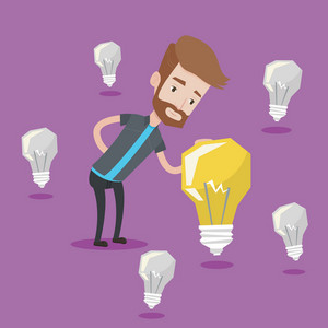 A hipster man with the beard having business idea. Young caucasian businessman standing among unlit light bulbs and looking at the brightest light bulb. Vector flat design illustration. Square layout.